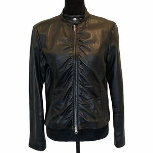 Wilson leather ruched zipper front leather jacket